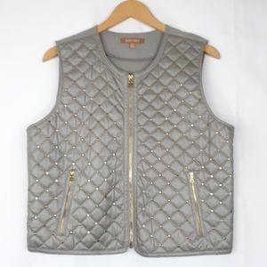 🎁Ellen Tracy Gray embelished Vest jacket gold L